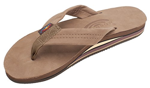 Rainbow Sandals Women's Double Layer Arch Dark Brown Leather Sandals XL 8.5-9.5 B(M) US
