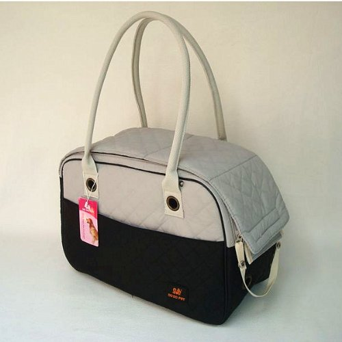 Black-White-Cotton-Dog-Travel-Bag-Dog-Totes-Carriers-Cat-Handbag-Doggy-Purse-Puppy-Pouch