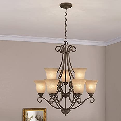 Linkhorn 30 in 9 light iron stone wrought iron tinted glass shaded linkhorn 30 in 9 light iron stone wrought iron tinted glass shaded chandelier amazon mozeypictures Image collections
