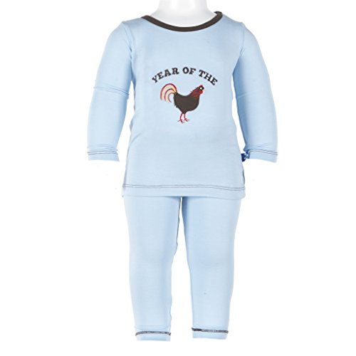(KicKee Pants Long Sleeve Pajama Set Little Boys, Pond Year of the Rooster, 3T)