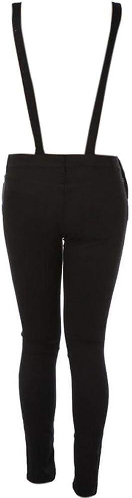 BELLA HXR Salopette Donna Jeans Strappati Nero Jumpsuit Ragazza S-XXL