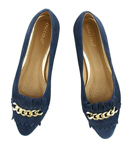 BOSCCOLO 4695-90-94-91 Ballerinas, Mokassins, Leather, Leder, Cuir Navy Blue
