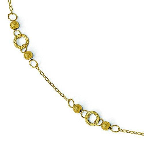 Or 14ct Laser poli et texturé Bracelet de cheville-25cm