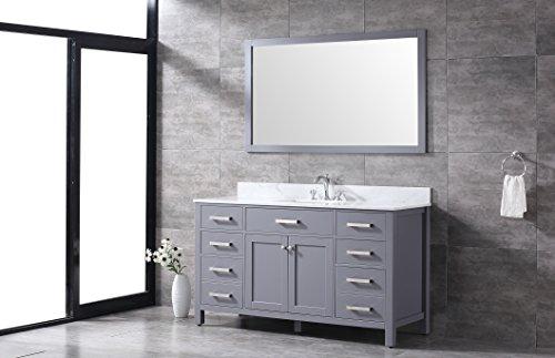 All-Wood Slate Grey 60-inch Single Sink Shaker Vanity (White Carrara Marble Top)