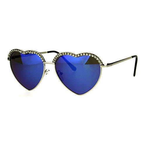 SA106 Rhinestone Studded Half Rim Style Heart Shape Metal Rim Sunglasses Silver - Sunglasses Heart Rhinestone