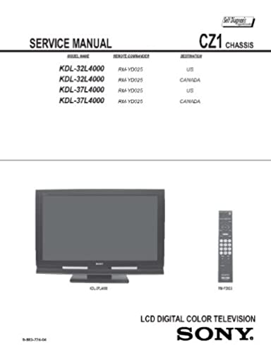"sony kdl32l4000 kdl37l4000 service manual sony amazon com books rh amazon com Sony BRAVIA 55"" LED Sony BRAVIA XBR 52 Inch"