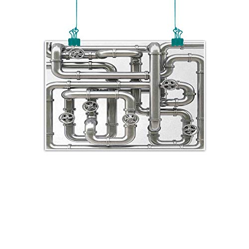 Unpremoon Industrial,Art Wall Paintings Maze of Pipelines Faucets and Valve Gasoline Engineering Themed Print W 16