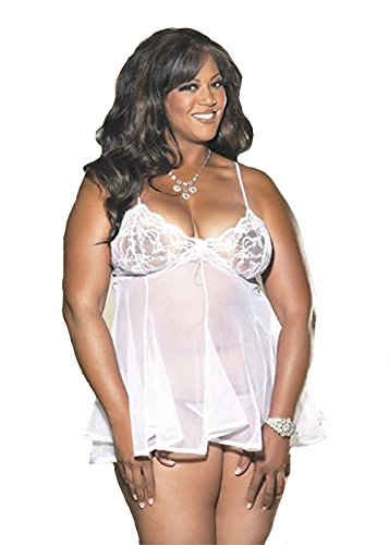 Shirley Of Hollywood Chopper Bar Lace and Net Baby Doll X3232 White 1X
