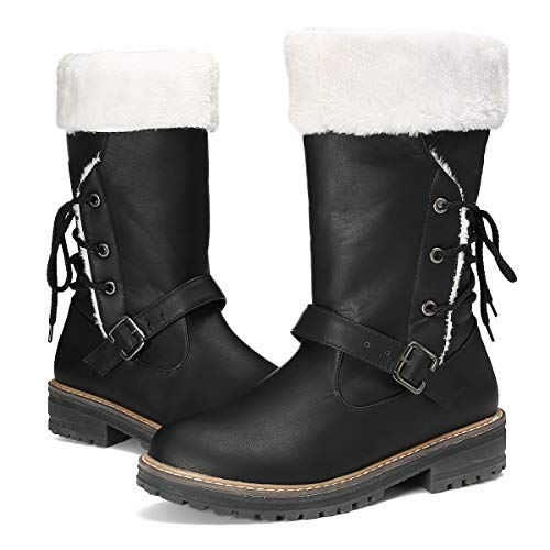 gracosy Women's Snow Boots, Leather Ankle Bootie Warm Flat Fur Lined Boot Winter Outdoor Knee Boots Lace up Slip on Black 6 M US ()