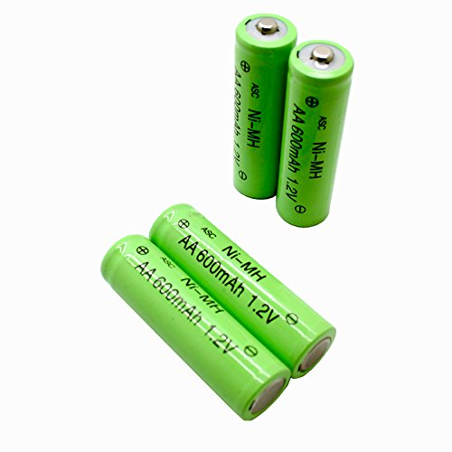 ASC Solar Light AA Ni-MH 600mAh Rechargable Batteries (Pack of 12)
