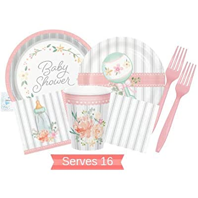 Farmhouse Floral Baby Shower Supplies - Rustic Baby Shower Plates and Napkins Cups & Forks for 16 People - Perfect Rustic Farmhouse Floral Baby Shower Supplies & Pink and Grey Baby Shower Decorations!: Toys & Games