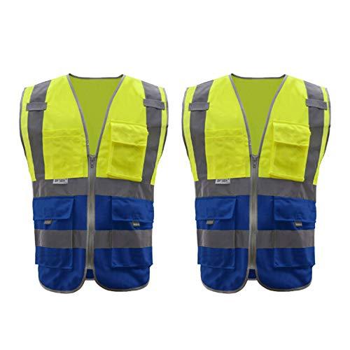 TOPTIE 2 Packs ANSI ISEA Hi-Vis Work Uniforms, 9 Pockets High Visibility Zipper Front Safety Vest-Yellow/Blue-M