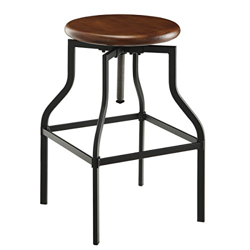 Carolina Chair and Table Colby Wood Seat Adjustable Stool, Chestnut/Black