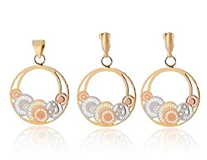 L&F - Gold Plating Copper Latin American Style Round Pendant Earrings + Pen...