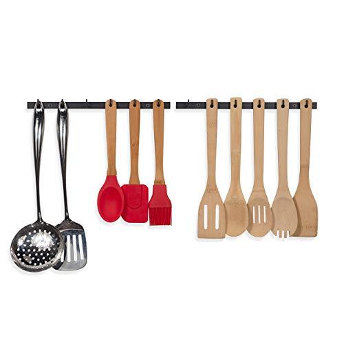 Wallniture Puno Kitchen Drawer Organizer Racks with Hooks, Wall Mount Utensil Holder Silverware Organizer Black set of 2 (Kitchen Utensil Holder Hanging)