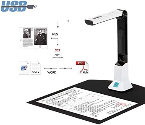 8mp High Definition Portable Document Camera, Auto-Flatten Deskew, Capture Size A4, Multi-Language Ocr, USB,for Live Demo, Web Conferencing, Distance Learning