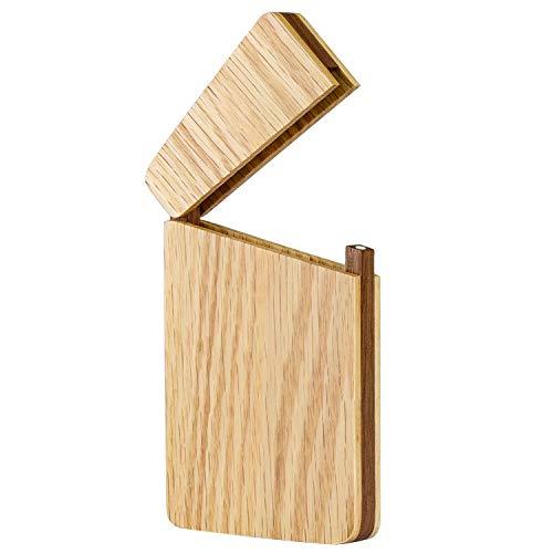 MaxGear Business Card Holders Wooden Business Card Case Slim Business Card Wallet Pocket Name Card Carrier -Walnut Oak ()