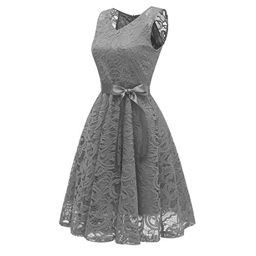 Sleeveless Length Gray Dresses Medium Zhhmeiruian Masquerade Dress Cocktail Lace Floral Vintage Bridesmaid Party Women's IUw7aUxO