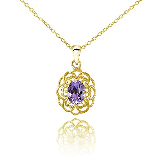 - Ice Gems Yellow Gold Flashed Sterling Silver Amethyst Oval Filigree Flower Necklace