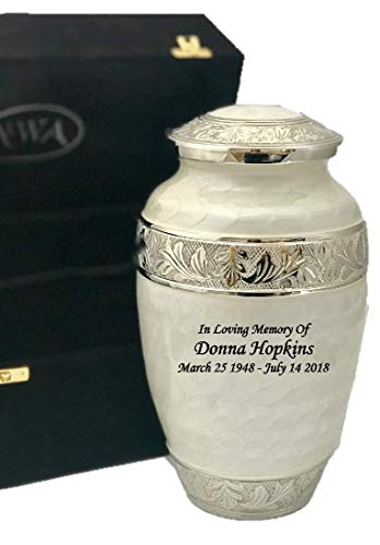 Adult Pearl White Solid Brass Funeral Cremation Urn, Ash Urns With Personalization and velvet (Brass Keepsake Cremation Urn)