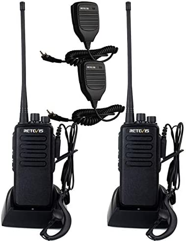 Retevis RT1 2 Way Radios Long Range High-Power UHF 16CH Rechargeable VOX Encryption Walkie Talkies with Earpiece and Speaker Mic 2 Pack