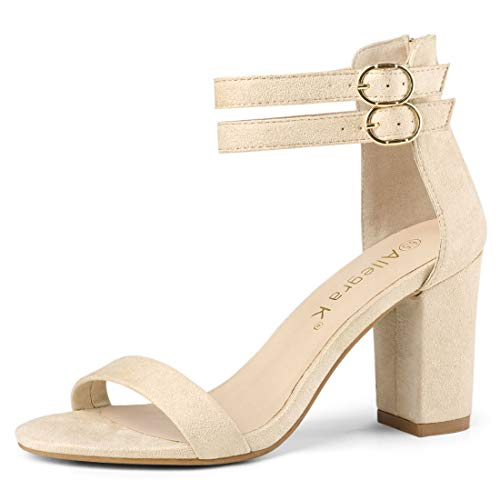 Allegra K Women's Double Ankle Strap Block Heel Beige Sandals - 8 M US
