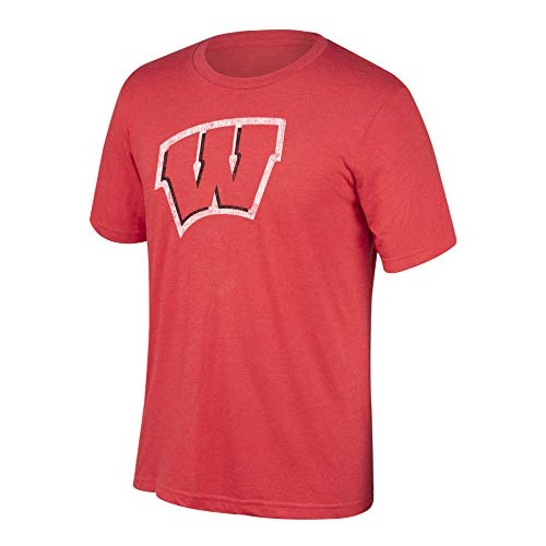 (Top of the World NCAA Men's Wisconsin Badgers Heritage Tri-blend Tee Vintage Red Medium)