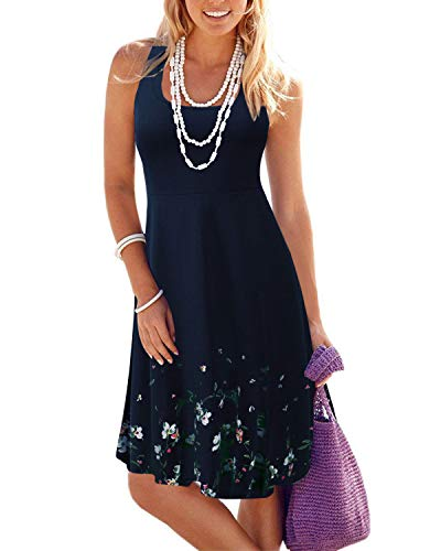 (VOTEPRETTY Women's Sleeveless Summer Beach Casual Flared Tank Dress(Navy,S))
