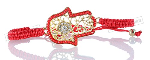 XL Gold color Hamsa Bracelets with beads Red STRING Evil Eye Lucky Jewelry ()