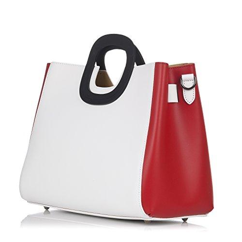 Bicolor Red interna pelle White con Borsa borsa in estraibile Moretti Laura qwaCx1fa
