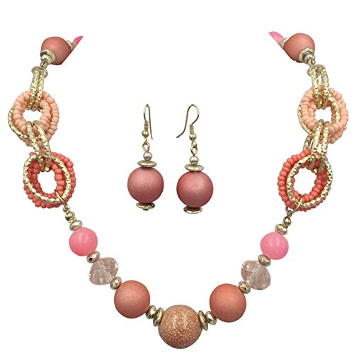 Multi Color Mixed Beads Statement Necklace & Dangle Earrings Set (Pink - Set Earrings Ceramic