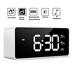 Digital Alarm Clock,Sound Control,Super Easy to Use,Dual Alarms,12/24 H,Snooze,25 Alarm Ringtones,Volume&Brightness Adjustable,Rechargeable Backup Battery,Alarm Clock for Bedrooms,Bedside,Kids(White)