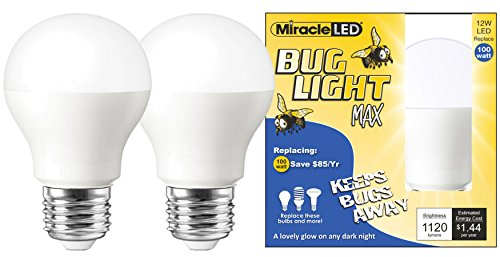 Yellow Bug Bulb Repellent Light (Miracle LED Yellow Bug Light MAX - Replaces 100W - A19 Outdoor Bulb for Porch and Patio - 2 Pack (606758))