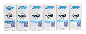 Tom's of Maine Natural Deodorant Stick, Aluminum-free, Lavender, 2.25 Ounce Stick, Pack of 6