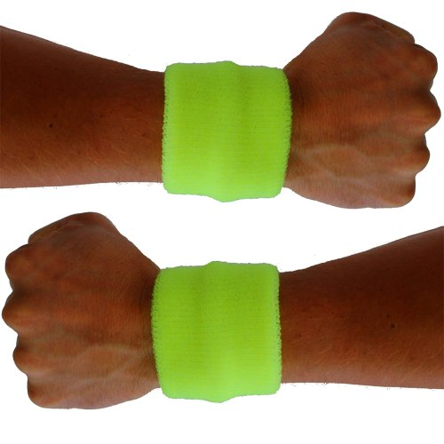 80s Neon Clothing (Extreme 80's Neon Yellow Sweatband Unisex-Adult)