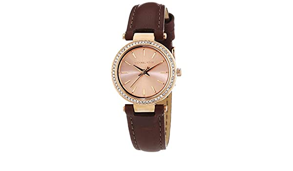 Amazon.com: Michael Kors MK2353 Ladies Darci Brown Leather Strap Watch: Watches
