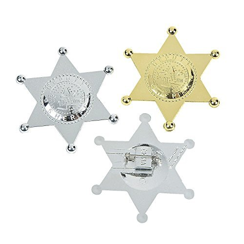 Deputy Sheriff's Badges (12 Pack) Plastic. Gold & Silver. by Fun Express