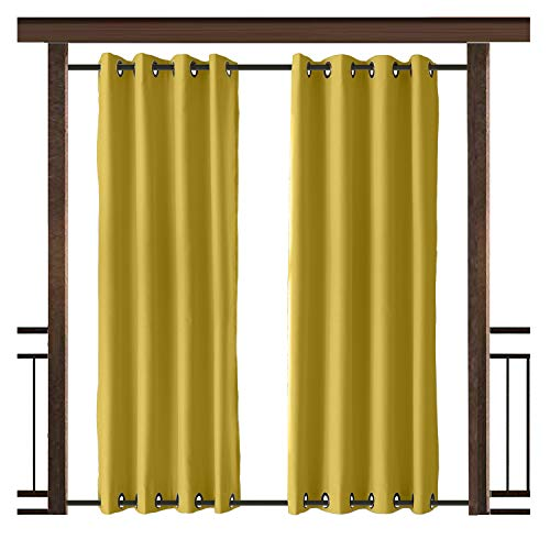 TWOPAGES Outdoor Curtain Antique Bronze Grommet Waterproof Drape(Both Top and Bottom) Yellow 52