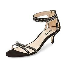 XYD Wedding Dance Shoes Open Toe Low Kitten Heeled Sandals Rhinestones Cutout Style Pumps for Women