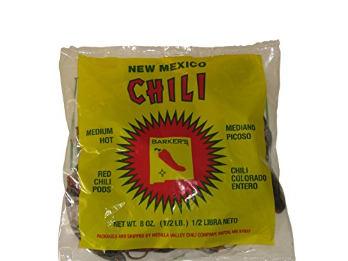 Barker's Medium Spicy Dried Red Chili Pods From Hatch, New Mexico (8 oz.) Dried Crushed Red Pepper