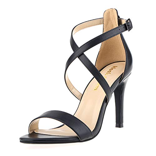 Women's Stiletto Open Toe Cross Strappy Heeled Sandals Ankle Strap High Heels 3.35 Inches Dress Party Wedding Work Daily Shoes Black Size 6