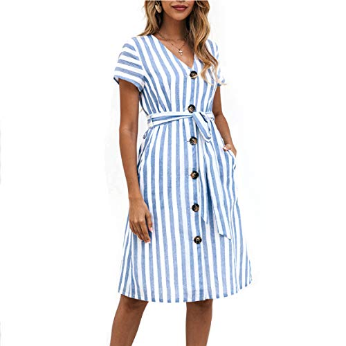 Striped Belted Shirt Dress - OEUVRE Women Short Sleeve V Neck Belted Tie Waist Button Down Shirt Dress Striped Midi Dress with Pocket Blue L