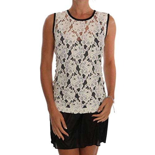 - Dolce & Gabbana White Floral Lace Blouse Top