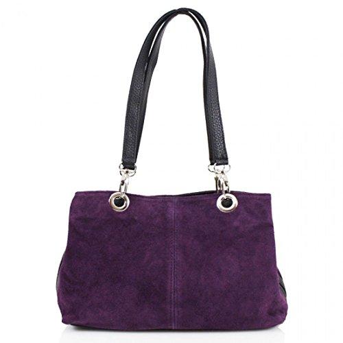 Ladies Italian Real Suede Leather Tote Handbag Ladies Shoulder Strap Bag (Purple)