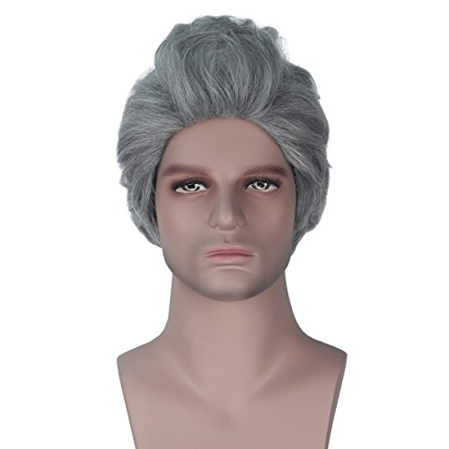 Men Short Straight Wave Hair Dark Grey Color Costume Wig for Halloween Time