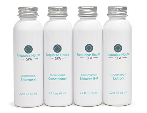 Turquoise House Spa Cocomango Travel Convenience Bottles With 2 2Oz Shampoo  Conditioner  Body Wash  And Lotion