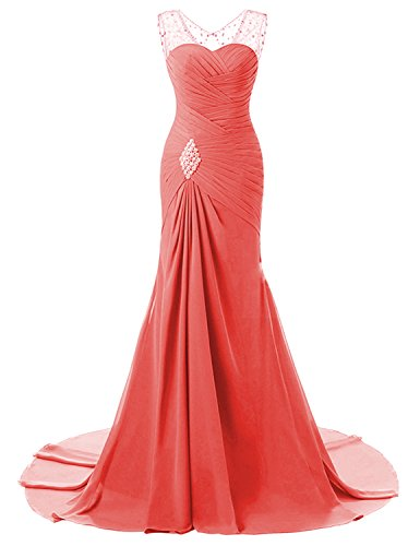 Wedding Evening Prom Gown (Lily Wedding Womens Mermaid Prom Bridesmaid Dresses 2018 Long Evening Formal Party Ball Gowns FED003 Coral Size8)
