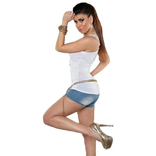 OverDose Mujer Bandage Tank Top Summer Lace Halter Top Moda sin mangas Camisole Blanco