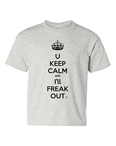 Keep Calm & Freak Out Short Sleeve Tee T Shirt, 100% Cotton, Organic Ink (4T, -