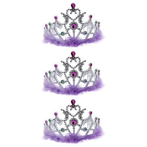 Lavender Princess Girls Dress Up Crown Tiara With Fur Set of -